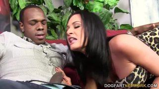 امرأة سمراء ديك جيدة تسحب بشدة مع الأسود الموهوب